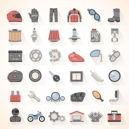 Motorcycle gear en accessoires pictogrammen Stock Illustratie