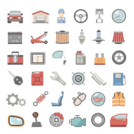 onderhoud auto: Flat Icons - Onderhoud van de auto