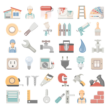 ladder  fence: House painting and home repair icons