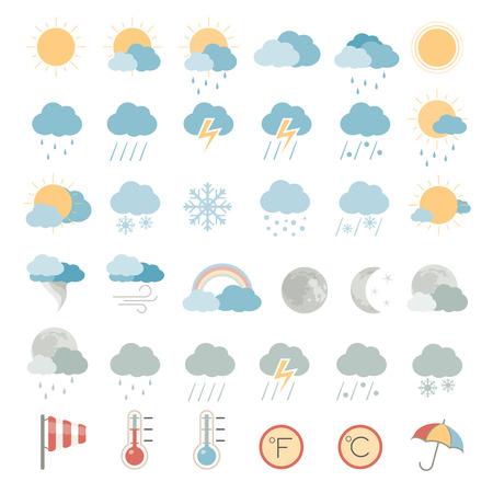 Płaskie Ikony - Pogoda Ilustracje wektorowe