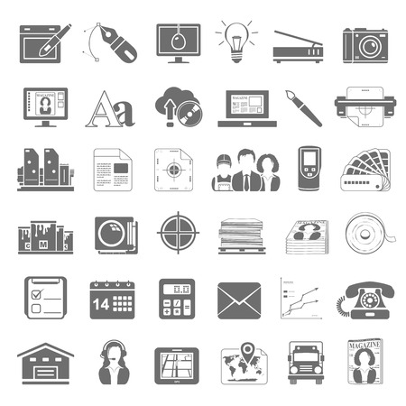 Graphic design and offset printing icons  イラスト・ベクター素材