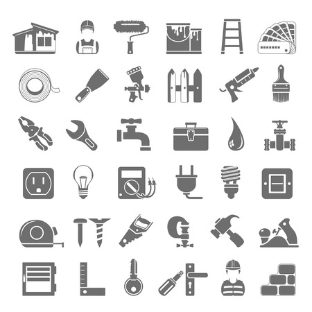 Black Icons -  House painting and home repair Vector