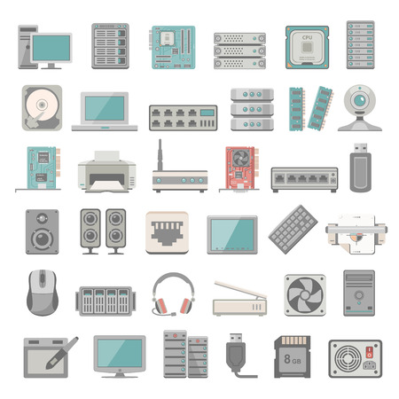 Flat Icons  Computer and Network Hardware