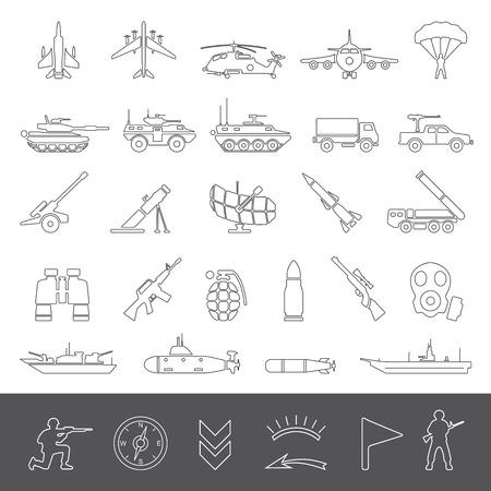 ammunition: Line Icons  Military
