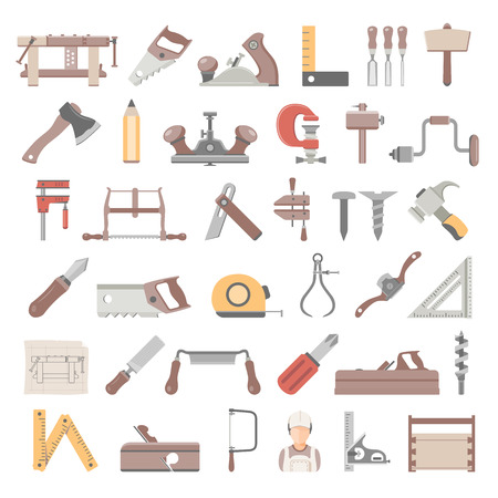 Flat Icons  Traditional Woodworking Tools