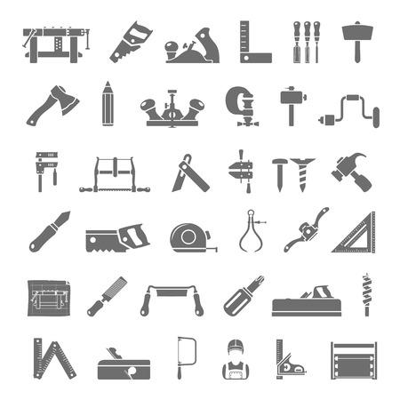 carpenter: Noir ic�nes traditionnelles Outils � bois Illustration