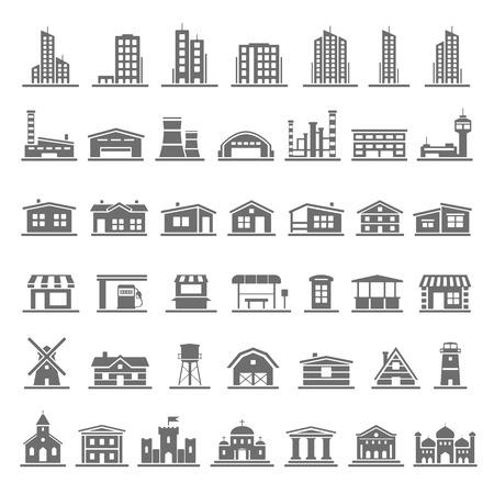 Black Icons  Buildings  イラスト・ベクター素材