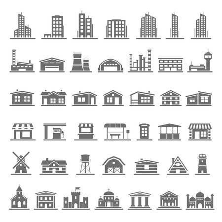 Black Icons  Buildings Illustration