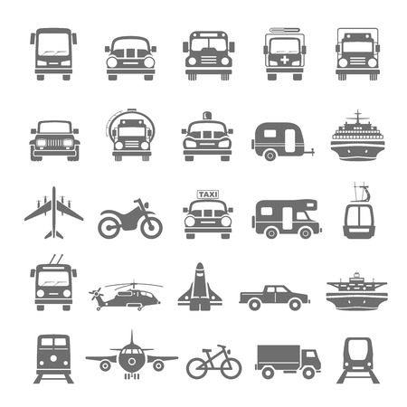 Black Icons  Transportation. Stock Photo