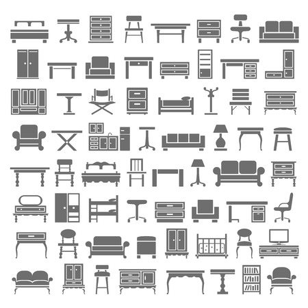 sofa furniture: Black Icons  Furniture Illustration
