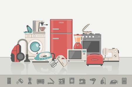 home appliance: Group of household appliances