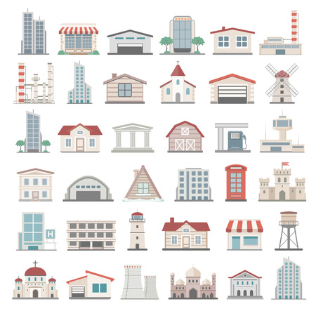 cabaña: Iconos planos - Edificios