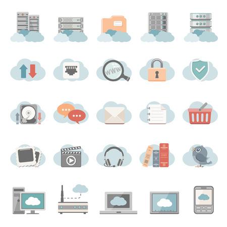 server rack: Flat Icons - Cloud Computing