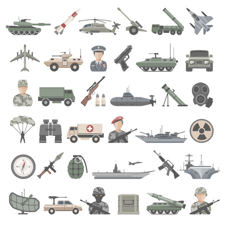 Flat Icons - Army Illustration