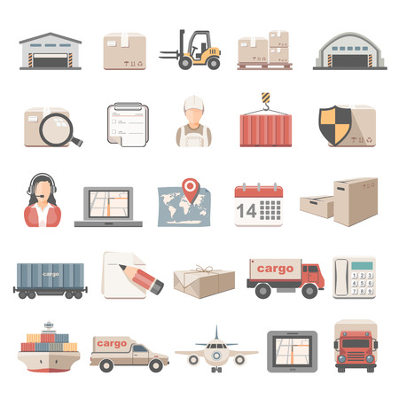 global logistics: Flat Icons - Logistic Illustration