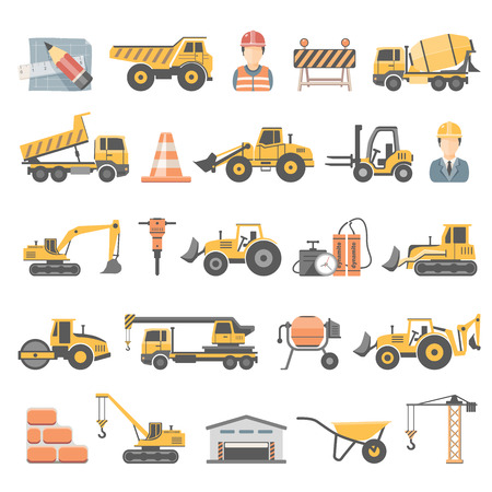 construction machines: Flat Icons - Construction