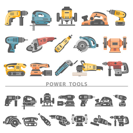 tool belt: Flat Icons - Power Tools Illustration