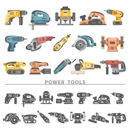 werkzeug: Wohnung Icons - Elektrowerkzeuge Illustration