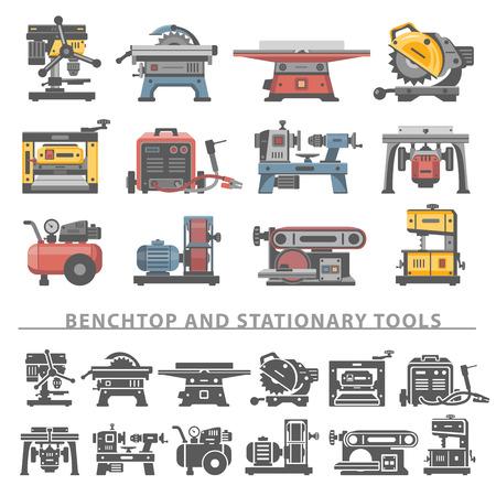 Piso Iconos -Benchtop y Herramientas estacionarias Ilustración de vector