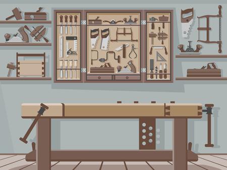 Traditionelle Holzbearbeitungswerkstatt Standard-Bild - 47372755