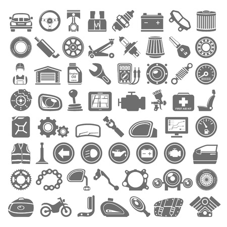 vector wheel: Black Icons - Car and Motorcycle Parts