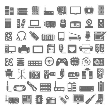 Iconos negros - PC y hardware de red Foto de archivo - 47910897