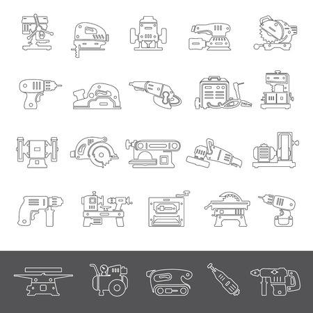 drill: Line Icons - Power Tools