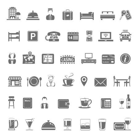 hospedaje: Iconos negros - Hotel y restaurante Vectores