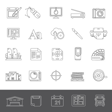 offset: Line Icons - Graphic design and offset printing