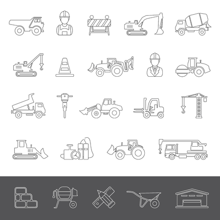 dozer: Line Icons - Construction