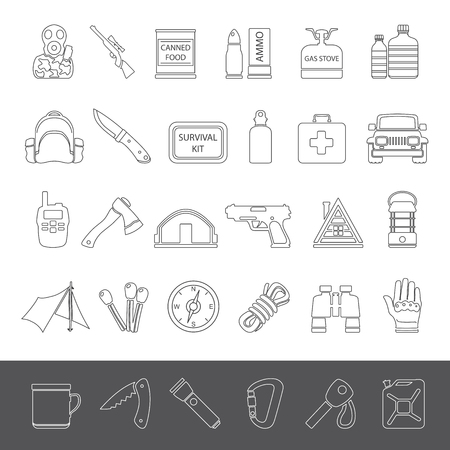 doomsday: Line Icons - Doomsday Preppers Illustration
