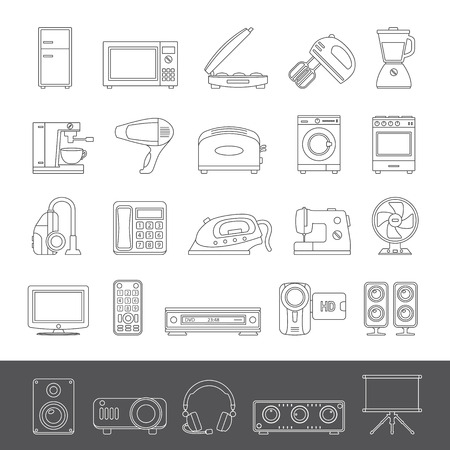 home appliance: Line Icons - Home Appliance Illustration
