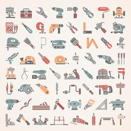 hand wrench: Flat Icons - Tools Illustration