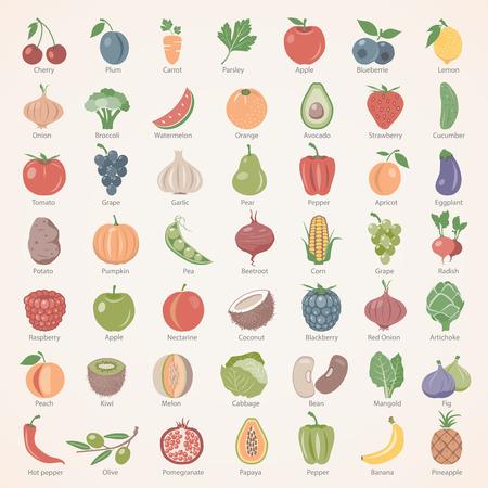 Los iconos planos - frutas y hortalizas Ilustración de vector