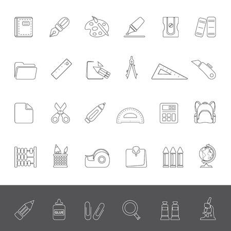 sacapuntas: Iconos de línea - Suministros de la Escuela