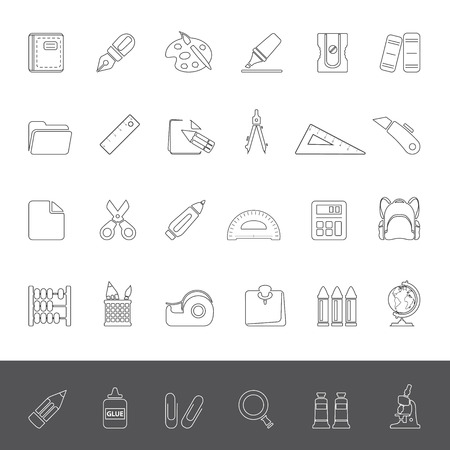 pencil sharpener: Line Icons - School Supplies