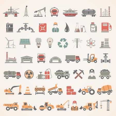 power station: Flat Icons - Industry, Energy, Construction Illustration