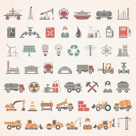 Flat Icons - Industry, Energy, Construction Vetores