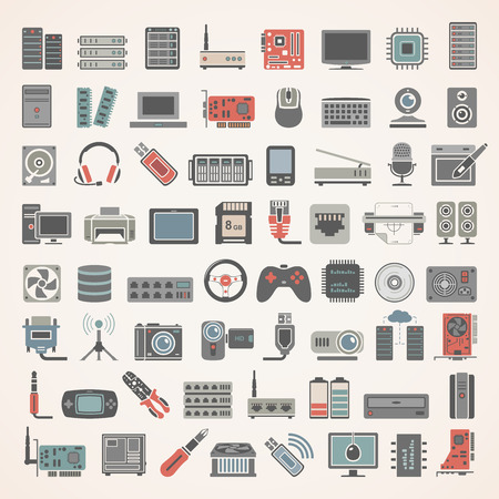Flat  Icons -  Network and Computer Hardware Stock Vector - 67128190