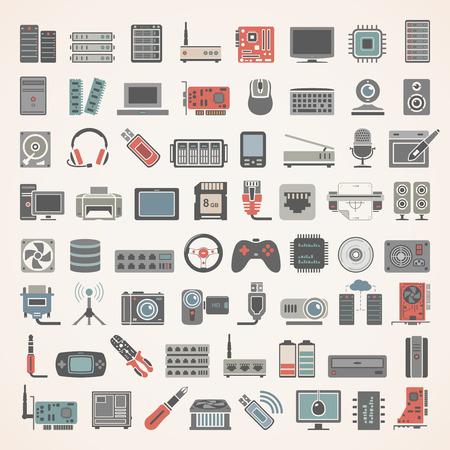 hardware: Los iconos planos - Red y Hardware Vectores