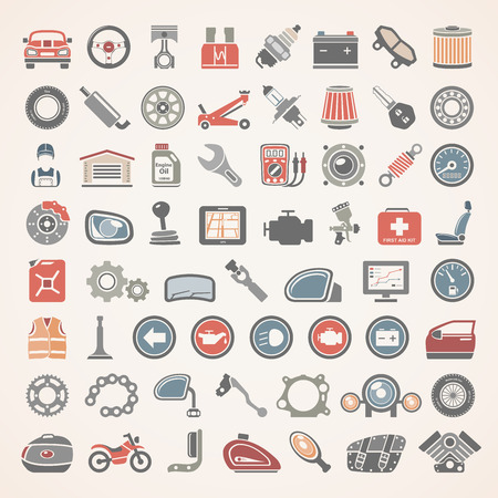 Flat Icons - Car and Motorcycle Parts 免版税图像 - 65945290
