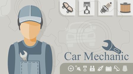 brake pad: Occupation - Car Mechanic Illustration