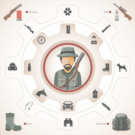Hunter with hunting equipment vector illustration.