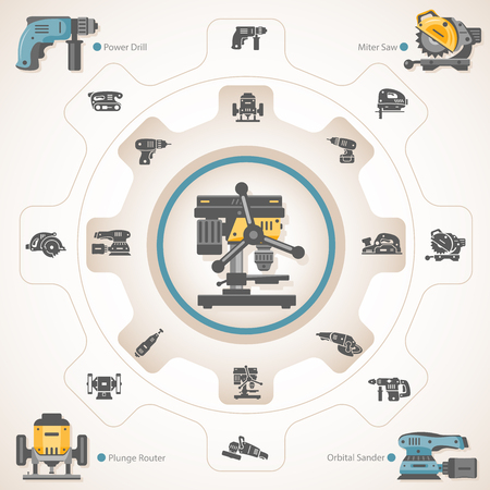 Drill press with power tools icons. Illustration