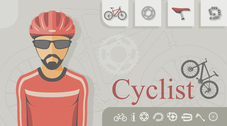 Cyclist with related icons
