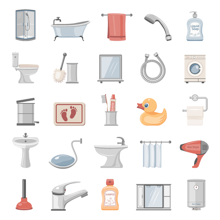Bathroom Equipment and Accessories icons Illustration