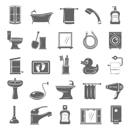 Bathroom Equipment and Accessories vector illustration set