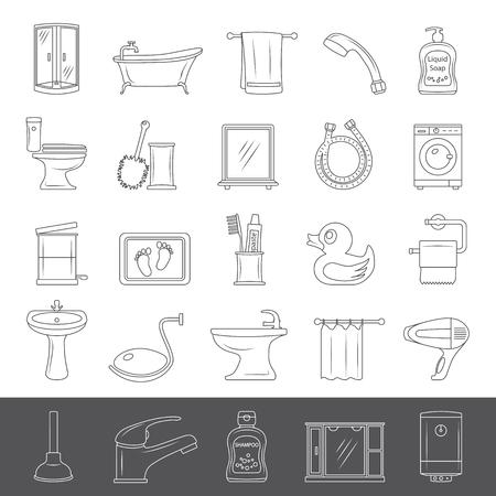 Set of bathroom equipment and accessories Stock Vector - 93543384