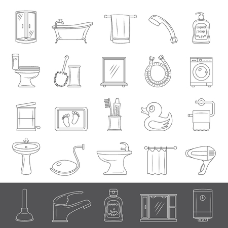 Set of bathroom equipment and accessories