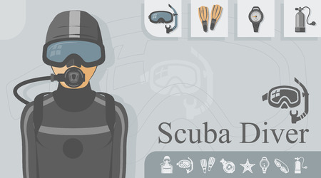 Scuba diver with related icons. Çizim